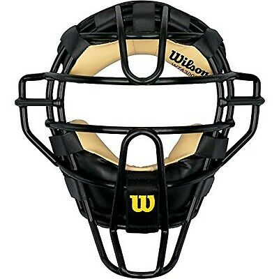 New Wilson Dyna-Lite Steel Cage Two Tone Black and Leather Umpire's Facemask