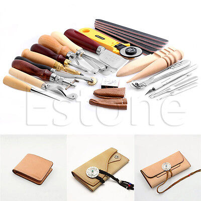 24 Pcs Leather Craft Punch Tools Kit Hand Sewing Stitching Carving Work Saddle
