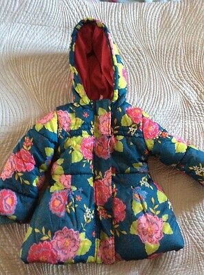 Marks And Spencer's Girls Green Teal And Pink Blue  Coat Indigo Flowers Size 2-3