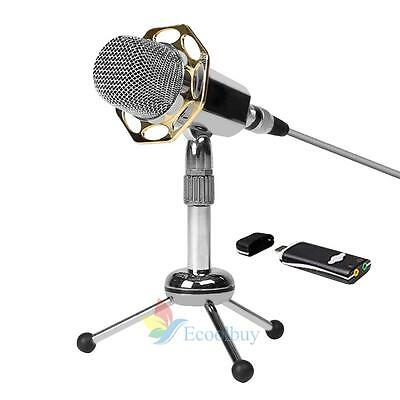 stereo/USB Microphone Computer Laptop Mac Professional Recording gaming /Stand #
