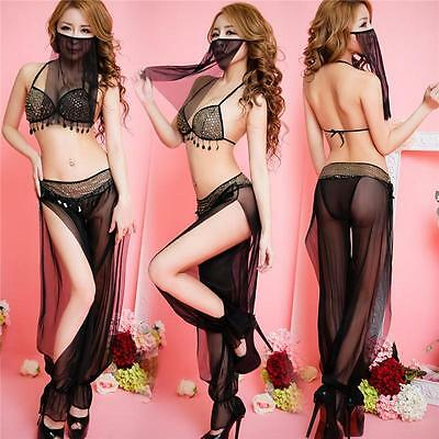 Women Mesh Temptation Veil Belly Dance Top With Bra Dress Set Suit Costume GZ