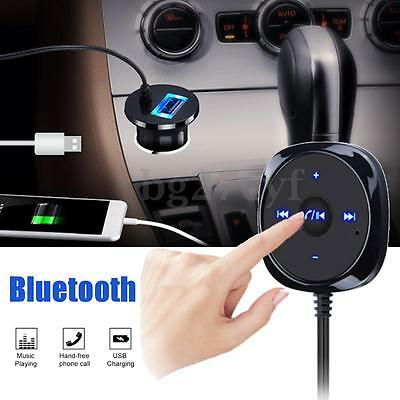 Wireless Bluetooth Handsfree Speakerphone Car Kit 2.1A USB Charger 3.5mm AUX-IN