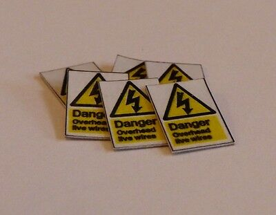6 x O Scale Network Rail 'Danger - Overhead live wires' Signs