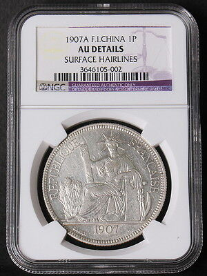 French Indo China 1907 A Piastre Silver Coin NGC AU DETAILS