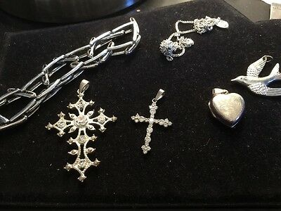 Vintage Job Lot Of Silver Toned And 925 Silver Jewellery Crosses Bracelet Etc