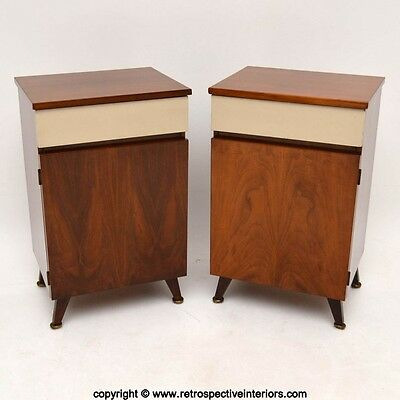 PAIR OF RETRO WALNUT BEDSIDE CABINETS VINTAGE 1960's