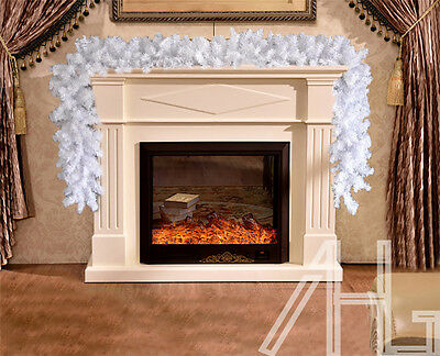Quality 2.7m(9ft) Extra Thick Wide White Christmas Garland Wired Swag Decoration