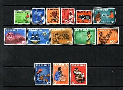Zambia 1964 Definitive Issue Complete Set of 14   SG.94/107  Mint (Hinged)