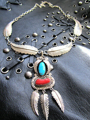 Vtg Navajo Silver Turquoise Necklace Native American Signed Collectable Rare