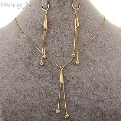 18k Gold Tassel Pendant Necklace and Long Earrings Party Gift Jewellery Set