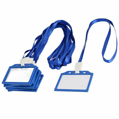 Office Plastic Horizontal Name Tag Badge ID Card Holder Blue Clear 10 Pcs