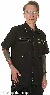 New Dead Threads Shirt Zip Studs Men Metal Punk Emo Rock