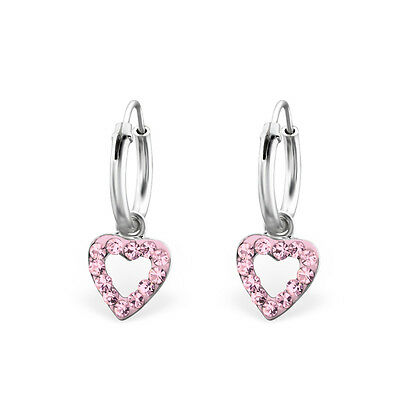 925 Sterling Silver Pink Crystal LoveHeart Sleeper Hoop Earrings Kids Girls 12mm