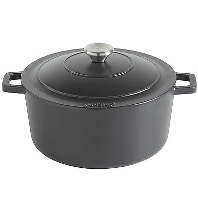 VonShef 4.5L Black Enamel Cast Iron Oven Casserole Dish Stewing Cooking Pot