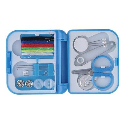 Travel Sewing Kit Thread Needles Mini Case Plastic Scissors Tape Pins Set FY