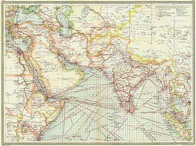 ASIA. The Near East. Industries and Communications 1907 old antique map chart