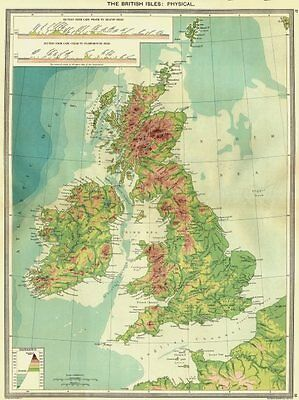 UK. The British Isles. Physical 1907 old antique vintage map plan chart