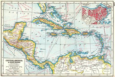 CENTRAL AMERICA/WEST INDIES COMMERCIAL. Agricultural products. Havana 1920 map