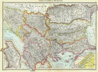 BALKANS. Turkey in Europe &; map of Moldova; Dardanelles 1907 antique