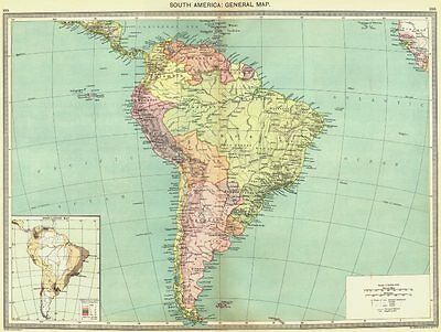 SOUTH AMERICA. map of population 1907 old antique vintage plan chart