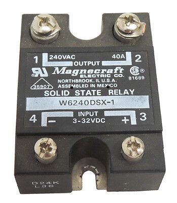 Magnecraft W6240DSX-1 Input 3-32VDC Output 240VAC 40A Solid State Relay / Tested