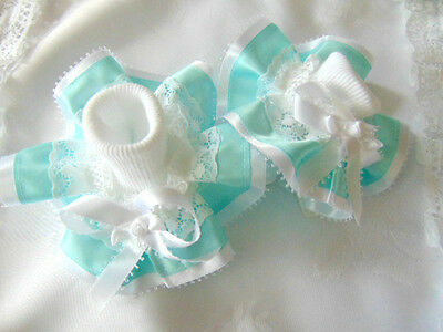 Romany Bling Party Dance Frilly Socks In Mint Green/white Wedding Occasion