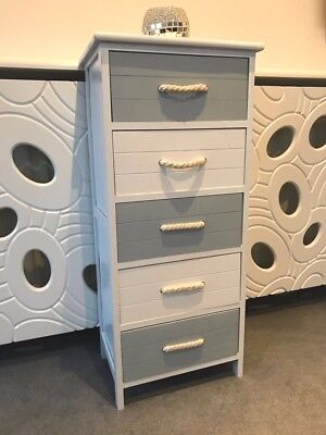 Grey White Shabby French Chic Wood Storage Cabinet 5 Drawers Bedroom Furniture