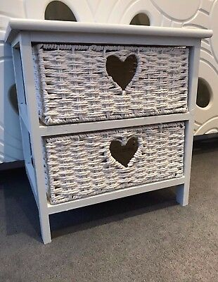 White Wicker Basket Small Drawers Shabby Chic Heart Wood Child Bedroom Furniture