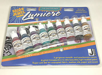 Jacquard Lumiere Exciter Starter Pack Fabric Metallic Pearlescent Acrylic Paint