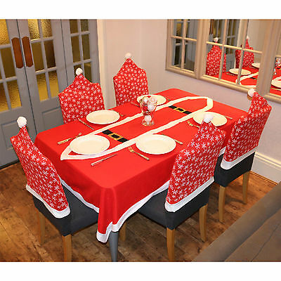 Snowflake Pattern Christmas Xmas Chair Covers Table Decoration