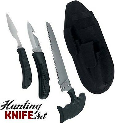 3 pc. Hunting Knife Set Game Deer Processing Saw Knives w/Sheath