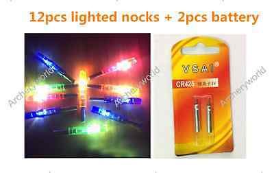 12X Automatically Luminous Tail Lighted Led Nocks for Carbon Fiberglass Arrow