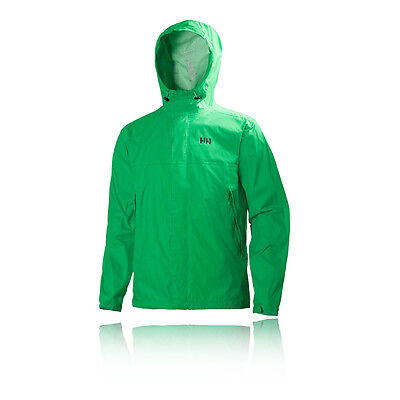 Helly Hansen Loke Hombre Verde Impemeable Running Sudadera Capucha Chaqueta Top