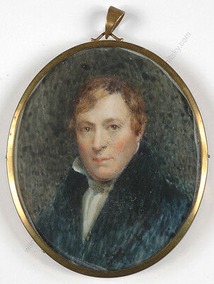 """Thomas Sully (1783-1872)-? """"Portrait of a gentleman"""", miniature, early 19th c."""