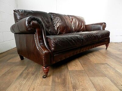 Victorian Style Cigar Brown Stud Leather Chesterfield 3 Seater Sofa 1 Of A Pair