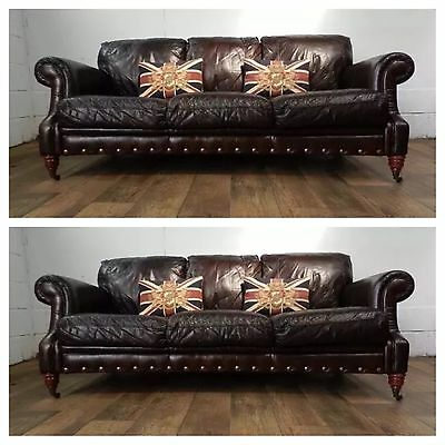 PAIR of VICTORIAN STYLE CIGAR BROWN STUD LEATHER CHESTERFIELD 3 SEATER SOFAS