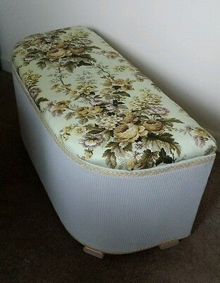 refurbished mid 20th century whicker ottoman, chest bedroom/bathroom furniture.