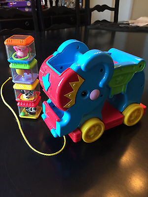 FISHER PRICE PEEK A BLOCK Blue Elephant MUSICAL Pull Toy With Peek 4 BLOCKS