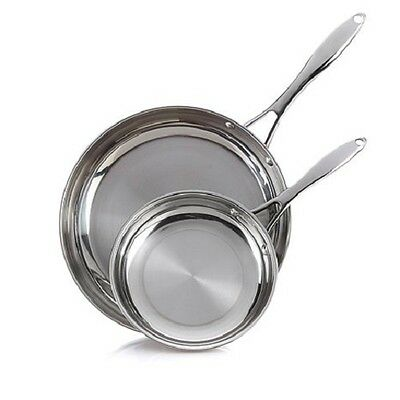 """Wolfgang Puck Bistro Elite 8"""" AND 12"""" Stainless Steel Omelet Skillet Set"""