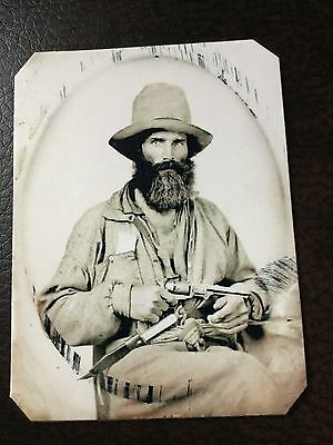 Mountain Man With Pistol And Knife TinType C654NP