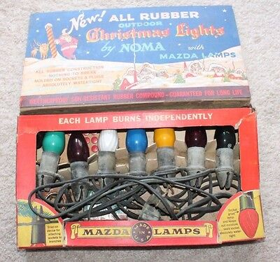 Vintage Outdoor Christmas Lights with Mazda Lamps by Noma Untested In Box