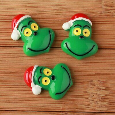 10pcs Christmas Grinch in Santa hat Resin Flatbacks Scrapbooking Hair Bow Craft