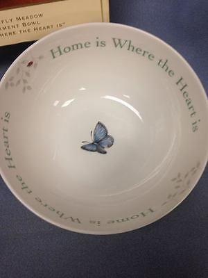 """Lenox BUTTERFLY MEADOW Sentiment Bowl """"Home Is Where The Heart Is"""" NEW"""