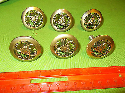 Set Of 6 Round Reticulated  Brass Drawer Pulls 1 1/2 Inch Diameter