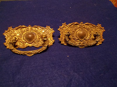 Vintage Set Of 2 Brass Awesome Rustic Fancy  Large Dresser Drawer Pulls Handles