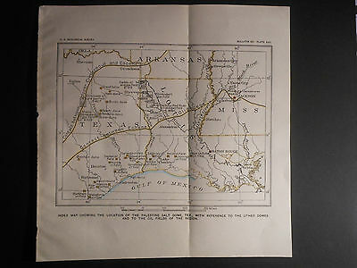 Productive Oil Fields Wells Coast Louisiana Texas c. 1910 Map Hand Colored