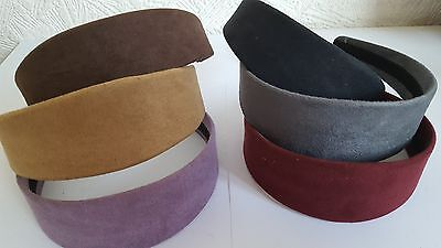 Wholesale Hair Accessories 36 x Faux Suede Covered Wide Alice Bands