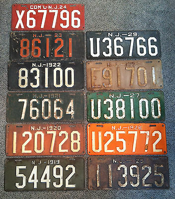 Vintage New Jersey License Plates (Lot Of 11)