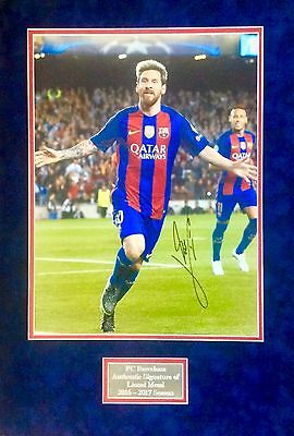 Lionel Messi Genuine Authentic Signed 16 X 12 Barcelona Mounted Photo Aftal