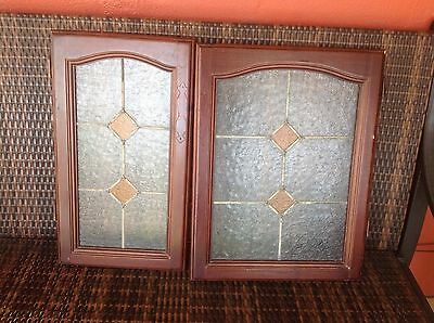 Pair Of Stain Glass Wood Doors In 2 Different Sizes. Dark Wood Tone